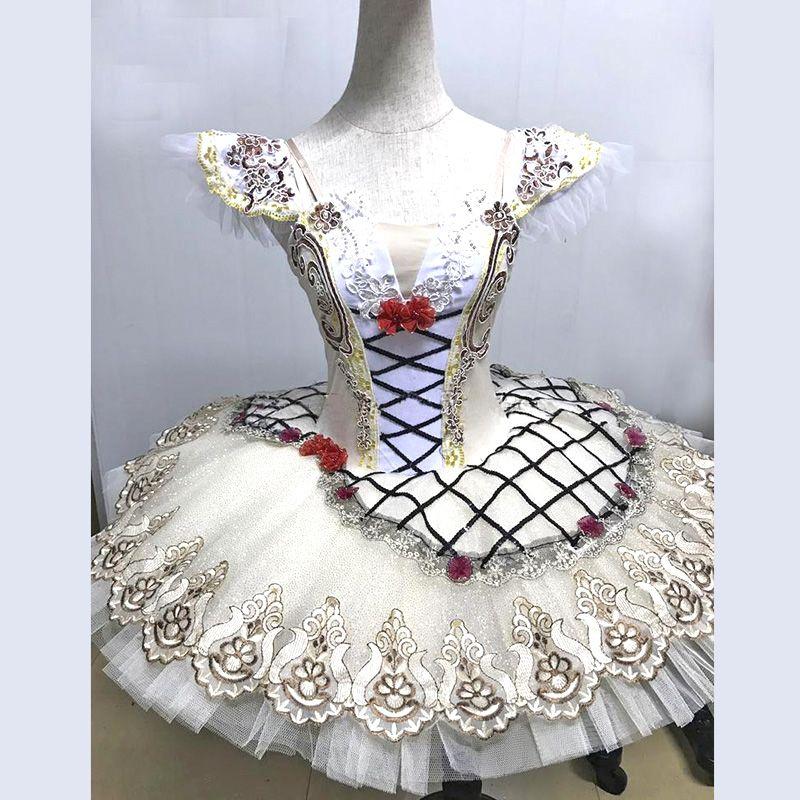 Italy Beige Raymonda Ballet Dance Costumes Dress for stage Flower Decoration,Stiff Tulle Classical Ballet Dance Pancake Tutu