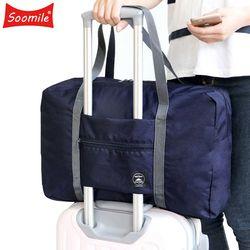 2018 nueva bolsa de viaje plegable de Nylon bolsas de viaje equipaje de mano para hombres mujeres moda viaje Duffle Bags bolso bolsos grandes lona