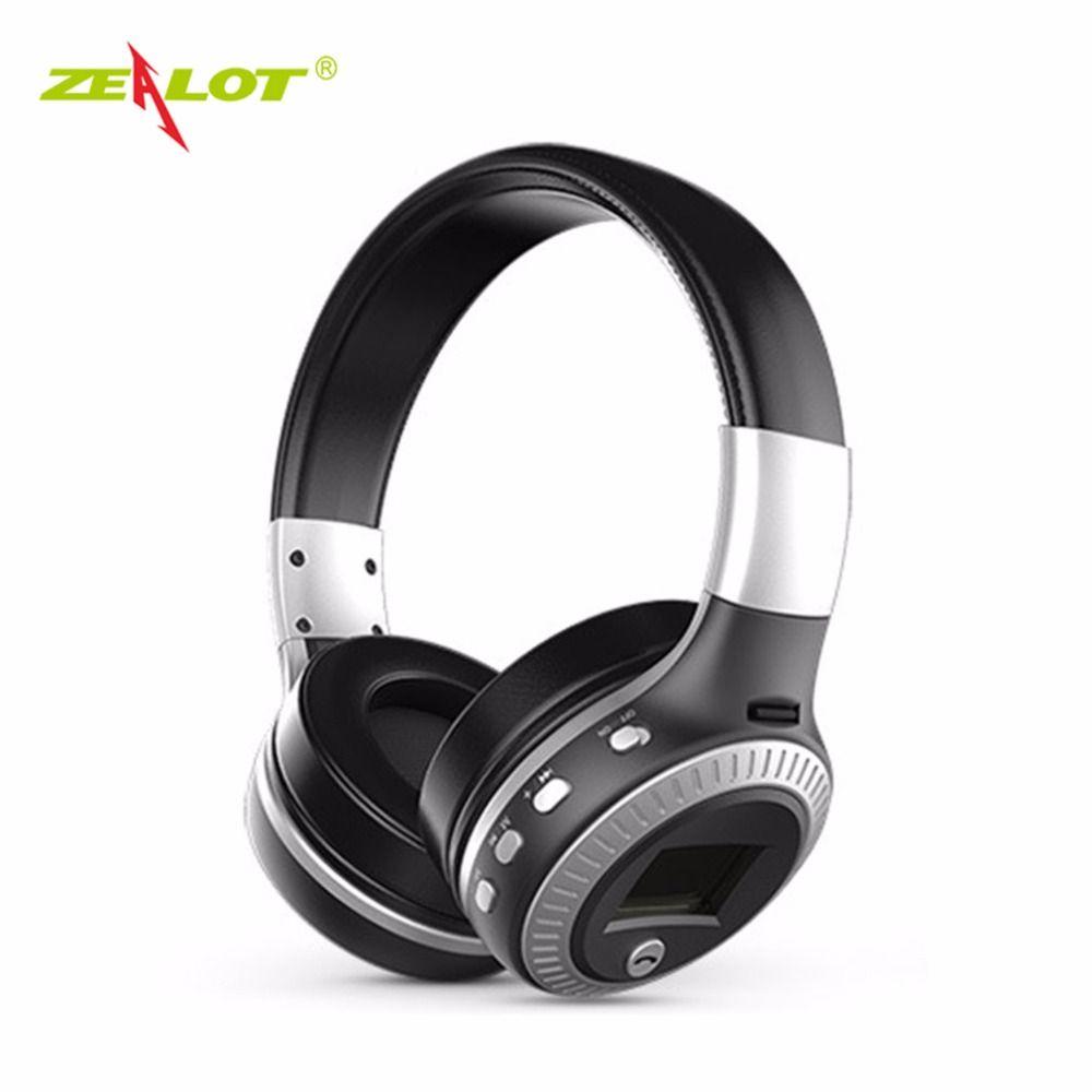 ZEALOT Bluetooth Headphones LCD Display Wireless Stereo Headsets Headphone With Mic Micro-SD Card Slot FM Radio For Phone