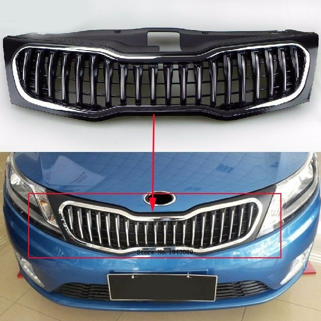 Free shipping Original ABS Chrome Front Grille Around Trim Racing Grills Trim For 2011-2012 kia K2 model 1