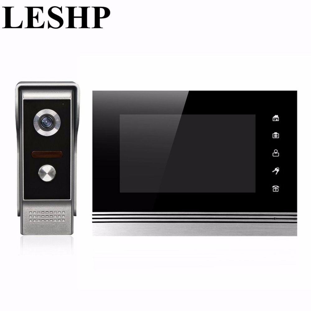 LESHP 7 TFT Door Monitor Video Intercom Home Door Phone Recorder System Unlock Doorbell Camera Supported Waterproof Rain Cover