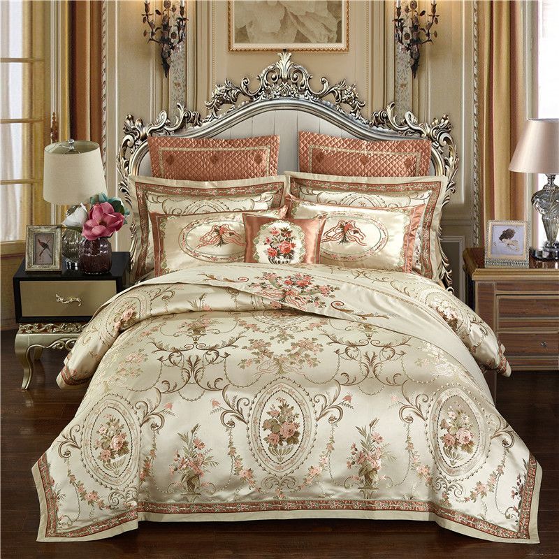 Gold color Europe Luxury Royal Bedding sets Queen King size Satin Jacquard Duvet cover Bed cover spread set pillowcase 4/6/9Pcs