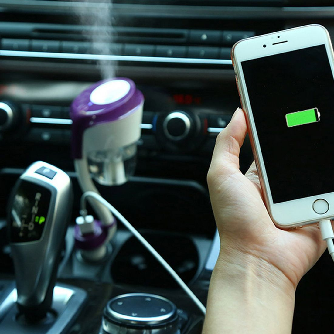 NANUM 12V II Car Steam Humidifier with 2pc Car Charger USB,Air Purifier Aroma Oil Diffuser Aromatherapy Mist Maker Fogger