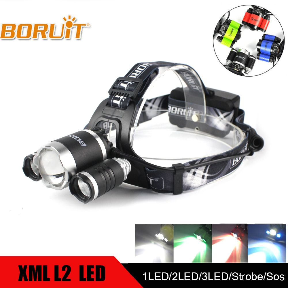 BORUIT 4000LM XML L2 XPE Headlight Green/Red/Blue/White LED Headlamp USB Power Bnak Flashlight for Fishing Hunting 18650 battery