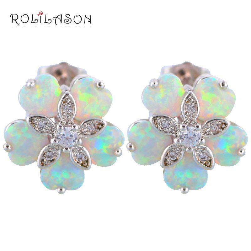 floating charms Flower shape five  White Fire Opal Stamped Silver Stamped Stud Earrings Australia Zirconia Fashion Jewelry OE356