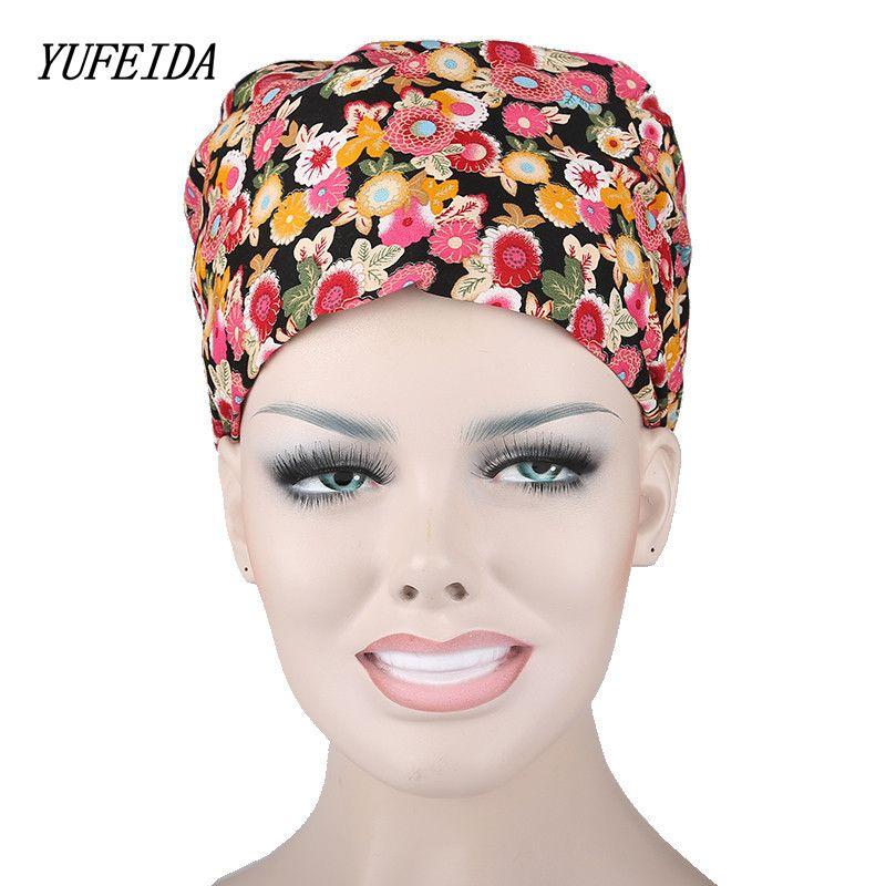 Doctor Scrub tapas de sombreros quirúrgicos con Cintas para sudor interior para mujeres clínica trabajo Cap Pelo Largo matorrales algodón quirúrgico CAPS