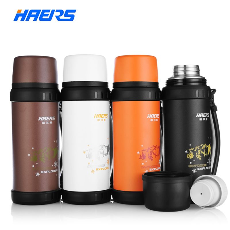 Haers Brand Thermos 1.1L Stainless Steel Insulated Thermos Bottle Outdoor Sports Drinking Water Bottle Vacuum Bottle