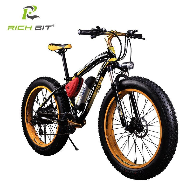RichBit New 36V 350W Fat Tire Ebike With 10.4AH Lithium Battery Electric Bicycle 26 Inch Snow 21 Speed Mountain Electric Bike