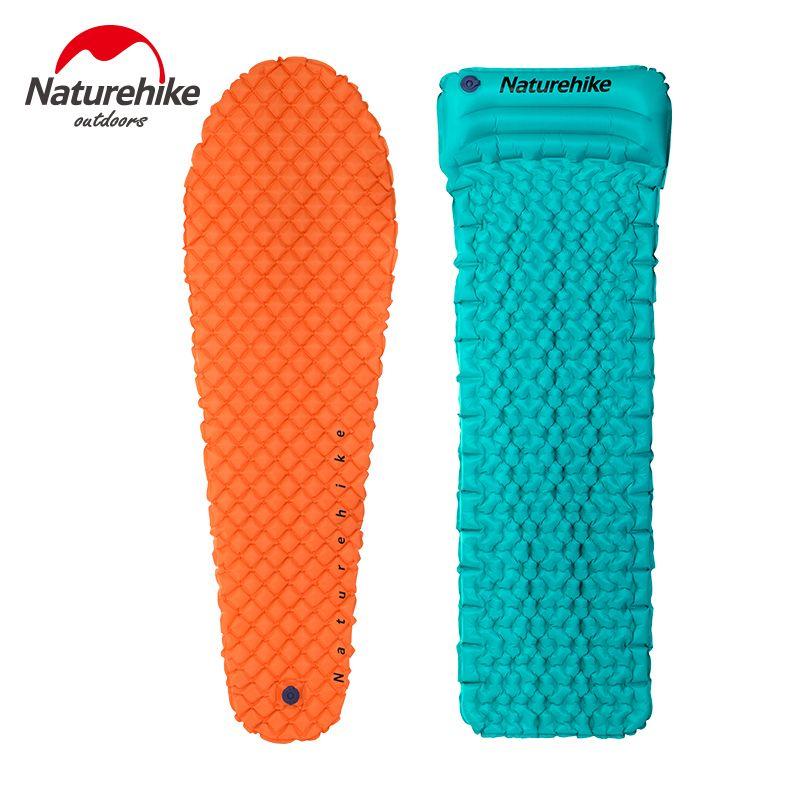 Naturehike Outdoor Camping Single Inflatable Pads Moisture-Proof Mat Pillow Mummy Lightweight Air Mattress Sleeping Bed 470g