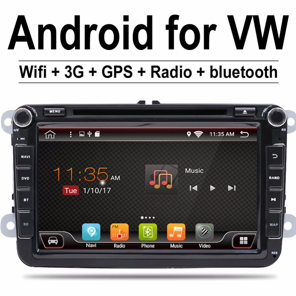 2 Din 8 inch Quad core Android 7.1 for vw car dvd for Polo Jetta Tiguan passat b6 cc mirror link wifi Radio CD in dash