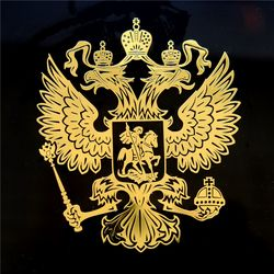 Three Ratels MT-001 7.95*9.2cm Coat of Arms of Russia Nickel Metal sticker decals Russian Federation car stickers for laptop