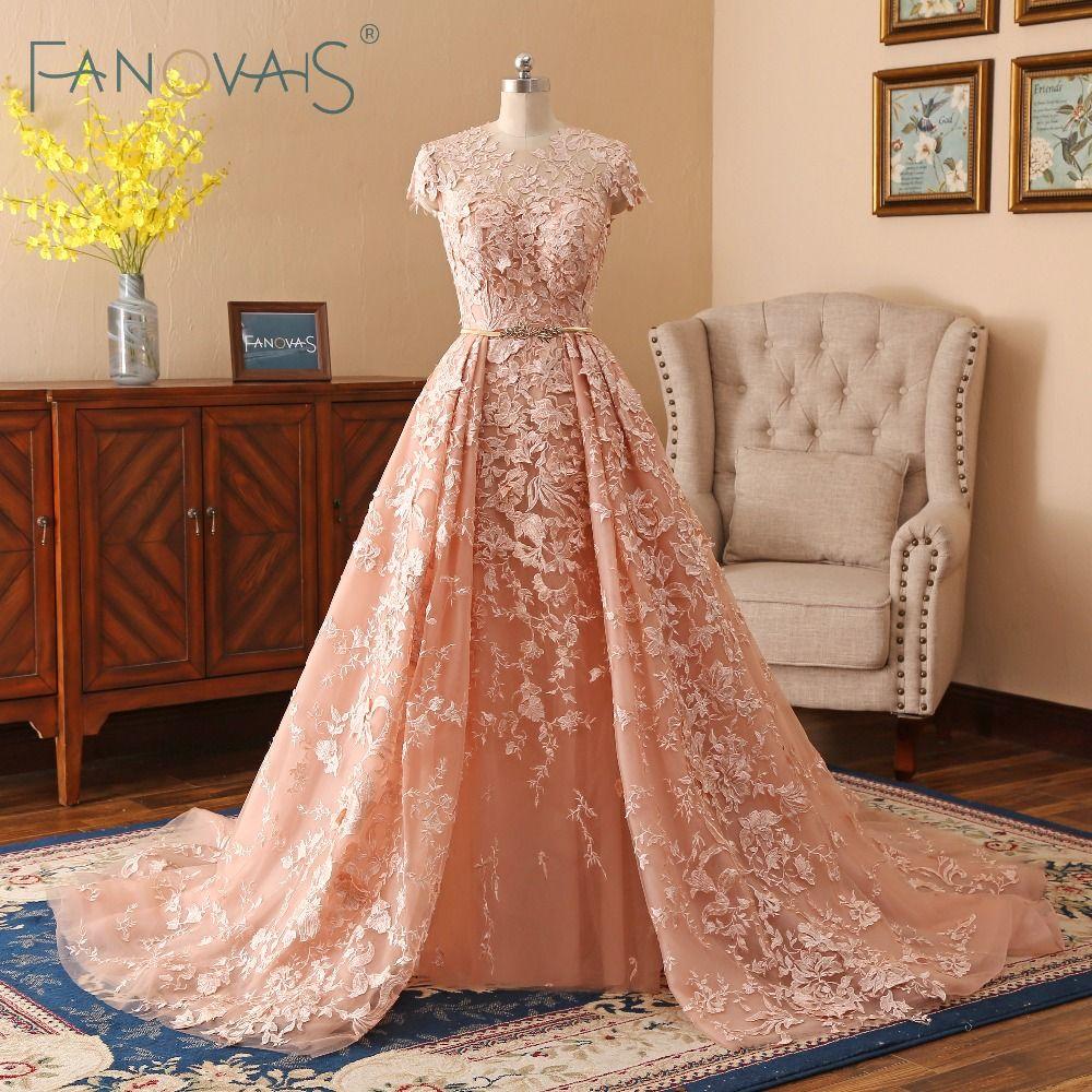 Spitze Hochzeit Kleider 2019 Lange Zug Brautkleider Vestido de Novia Kurzen Ärmeln Hochzeit Kleid Mit Goldenen Gürtel robe mariee