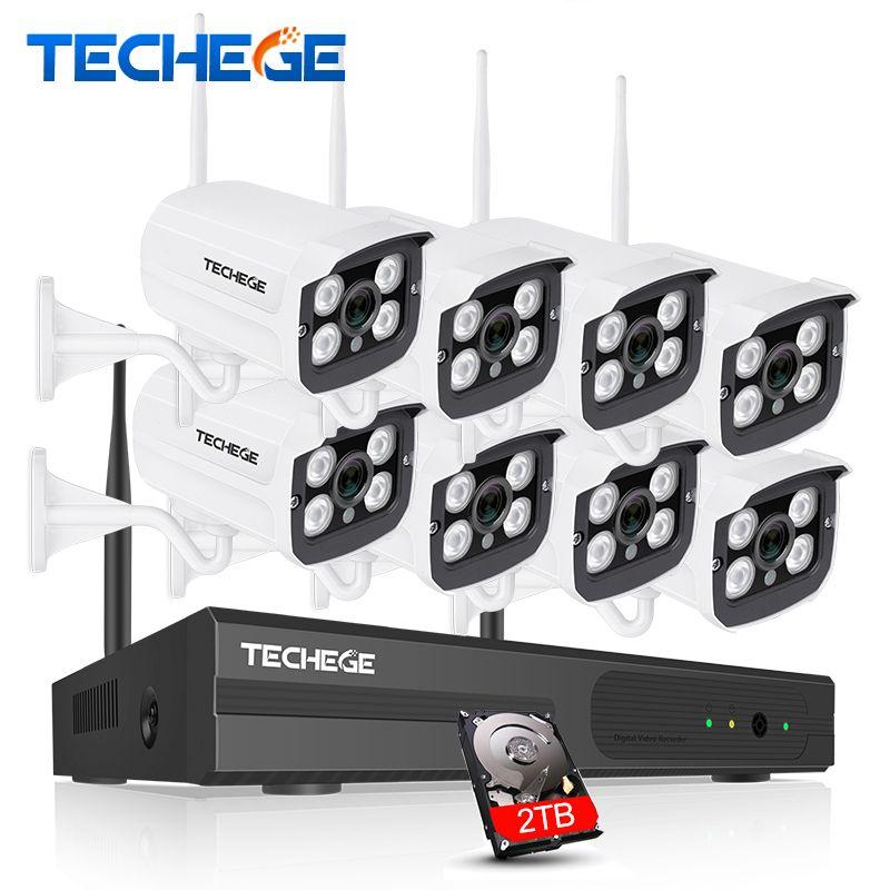 Techege 8CH 720P NVR WIFI Surveillance Kit Plug and Play 8pcs 720P HD 1MP Wireless Waterproof Night Vision Security CCTV System