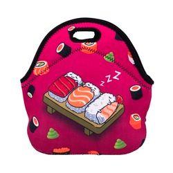 Nueva bolsa para comida 2017 para mujeres Who Cares con estampado 3D de caricaturas de piezas de sushi durmiendo, estuche térmico portátil para guardar comida