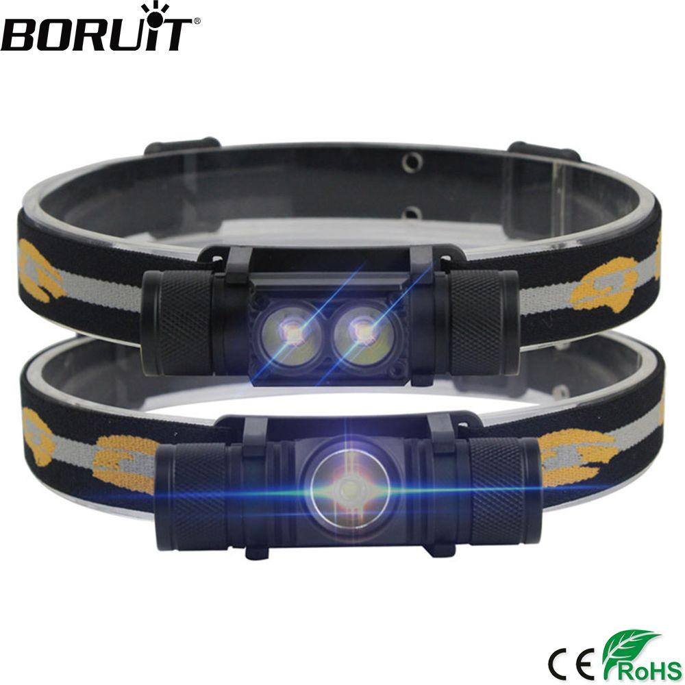 BORUiT 1000LM XM-L2 LED Headlight Mini White Light Head Torch USB Charger 18650 Battery Headlamp Camping Hunting Flashlight