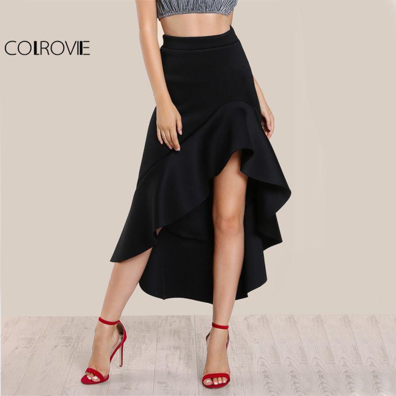 COLROVIE Black Ruffle Hi-Lo Long Skirt High Waist Elegant Women Slim A Line Maxi Skirts 2017 Fashion New Draped Party Club Skirt