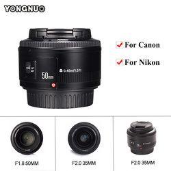 YONGNUO YN35mm F2.0 AF/MF lente de enfoque fijo, YN50mm F1.8 AF/EF lente para Nikon F montaje D7100 D3200 D3300 D3100 D5100 D90 para Canon