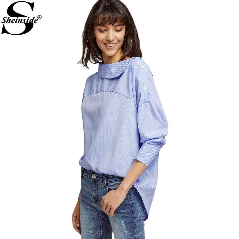 Sheinside Вертикальную Полоску блузка Для женщин синий 3/4 рукавом изогнутые подол высокая низкая Повседневное Топы корректирующие Мода 2017 г. Кн...