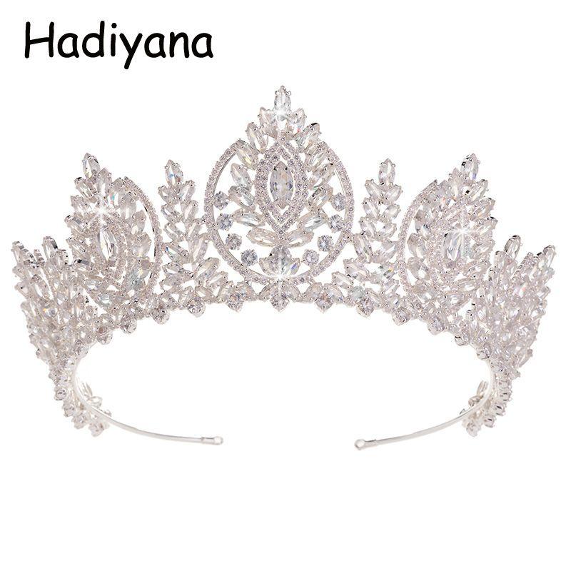 Hadiyana Helle Cubic Zirkon Hochzeit Zubehör Crown Braut Diademe Diadem Pageant Kronen Haar Ornamente Schmuck Fabrik HG6053