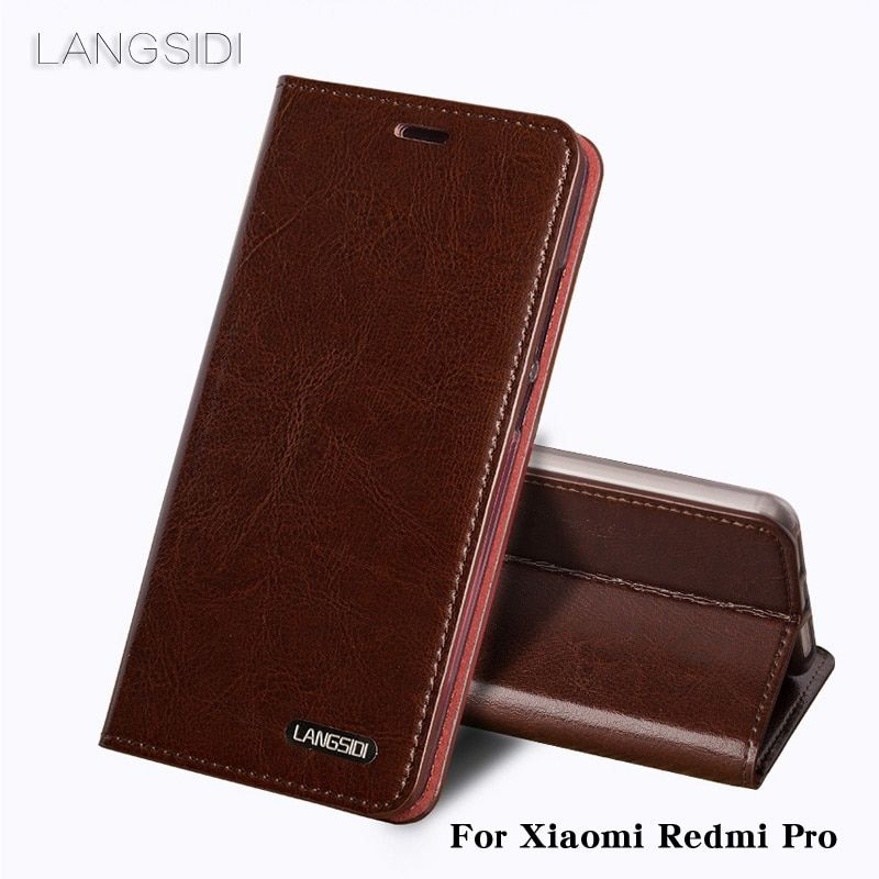 LANGSIDI For Xiaomi Redmi Pro phone case Genuine Leather Oil wax skin wallet flip cover For Xiaomi Other phone shell