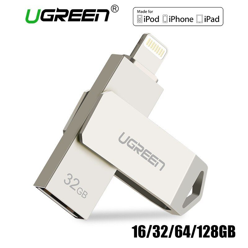 Ugreen USB Flash Drive USB Pendrive for iPhone X Xs 9 8 7 Plus iPad 16/32/64/128 GB Memory Stick USB Key MFi Lightning Pen drive