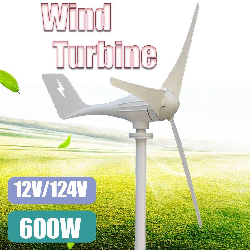 600W 12 V 24 Volt 3 Nylon Fiber Blades Horizontal Wind Turbines Generator Power Supply Windmill Energy Charger Voltage Kit Home