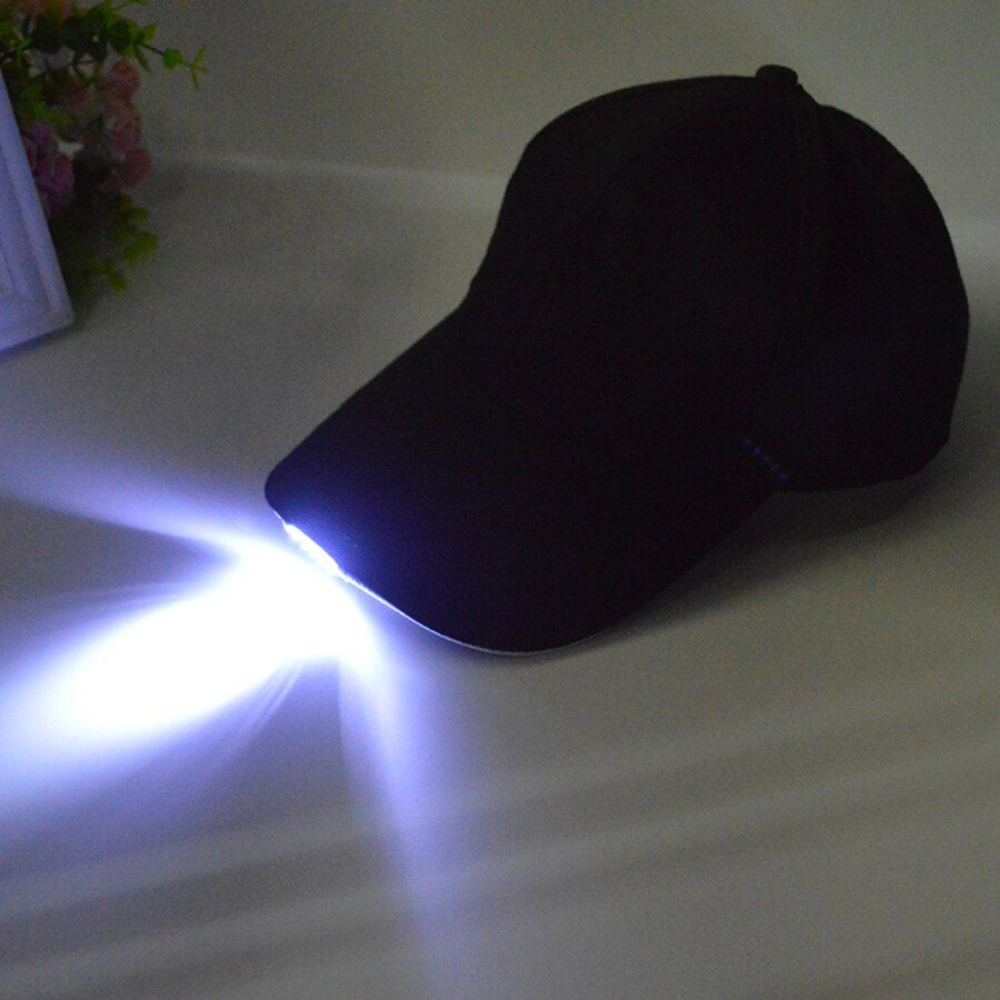 Black LED Flashlight Fishing Hat Sport Baseball Caps Night Walking Cycling Hiking Hunting Hats Free Shipping