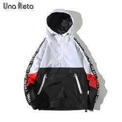Una Reta Hooded chaquetas hombres 2018 nuevo bloque del Color del remiendo chaqueta moda Tracksuit Casual hombres Hip Hop Streetwear
