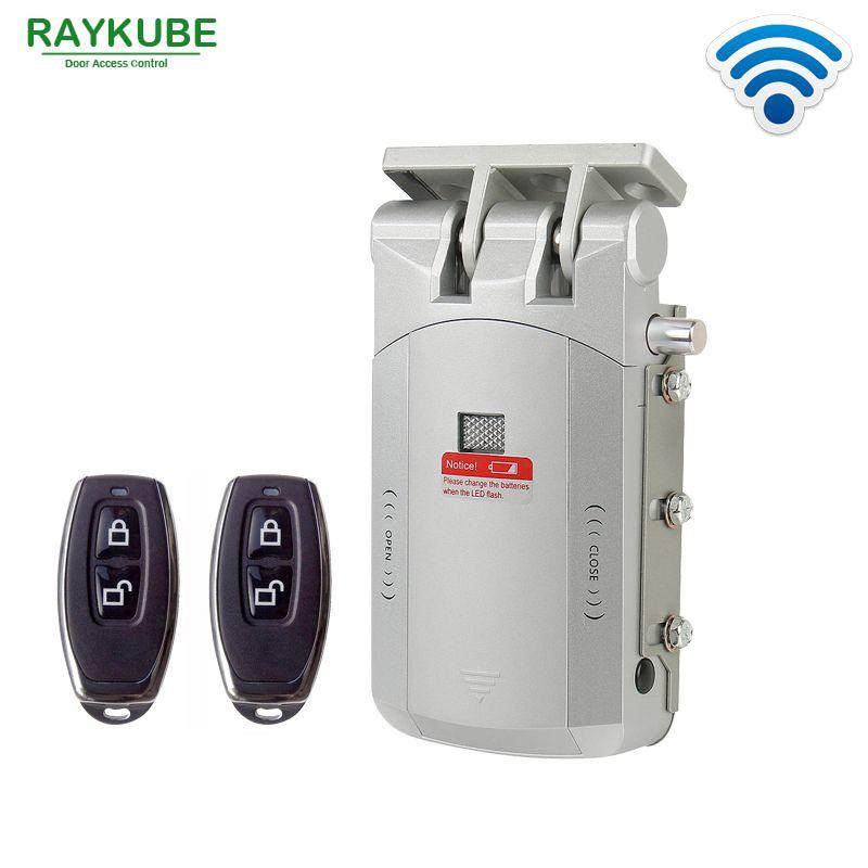 RAYKUBE Elektrische Türschloss Drahtlose Steuerung Mit Fernbedienung Öffnen und Schließen Smart Lock Sicherheit Tür Einfache Installation R-W03