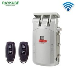 Raykube Listrik Kunci Pintu Nirkabel Control dengan Remote Control Buka & Tutup Smart Lock Pintu Keamanan Mudah Menginstal R-W03