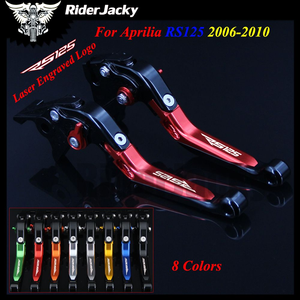 8 Colors Red+Black Motorcycle Accessories Adjustable CNC Brake Clutch Levers For Aprilia RS125 RS 125 2006-2010 2007 2008 2009