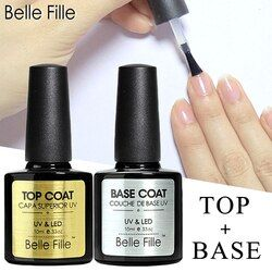 Belle FILLE Dasar dan Top Coat Gel Cat Kuku UV 10 Ml Transparan Rendam Off Primer Gel Polandia Gel Lacquer kuku Seni Manikur