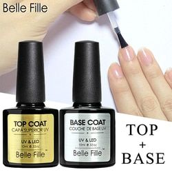 Belle Fille Base et Top Coat Gel Vernis À Ongles UV 10 ml Transparent Soak Off Primer Gel Gel Vernis Laque Nail Art Manucure