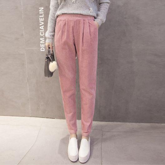 Invierno Pantalones mujeres 2017 vintage casual suelta elástico cintura plisada PANA Pantalones harem negro Rosa gris pantalon Femme b191