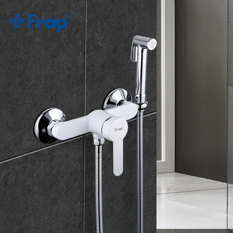 Frap 1 Set New Arrivals White Modern Bidet Faucet Single Handle Mixer Wall Mounted Luxury Bathroom Shower Faucet Set F2041-8