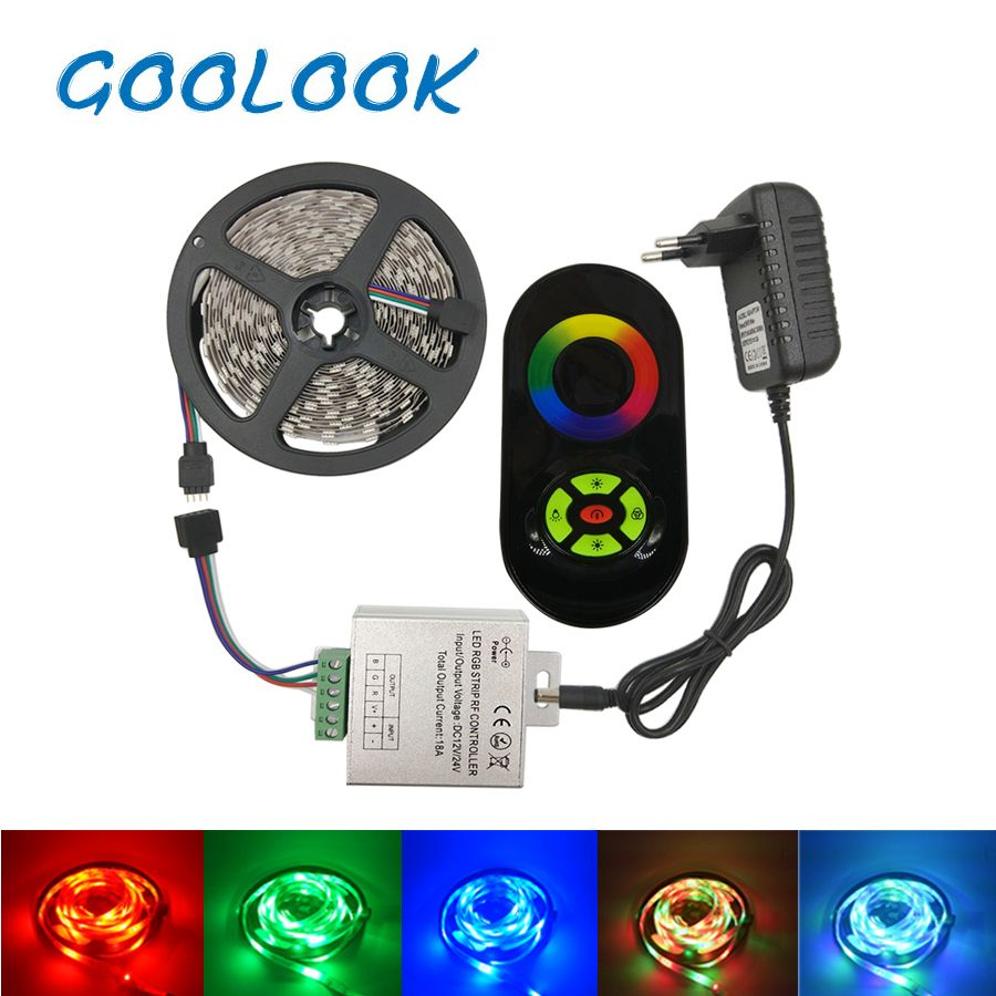 Goolook Led Strip Light SMD 2835 3528 RGB Led <font><b>Tape</b></font> Waterproof Diode LED Ribbon RGB Strip Flexible For Home Decoration full set