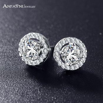 ANFASNI Hot Sale Romantic Jewelry Stud Earrings For Wedding Elegant Silver Color AAA Cubic Zirconia Stone Earring CER0002-B