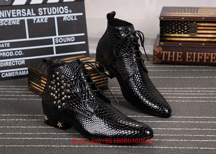 European style studded snake skin leather military boots black lace up ankle boots men height increasing cowboy boots mens