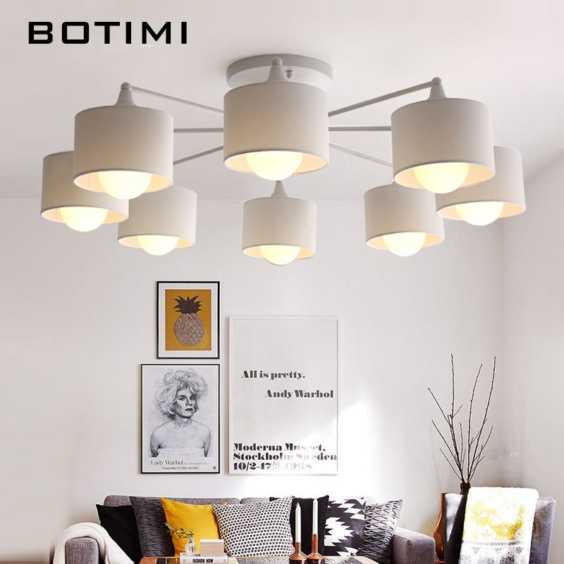 BOTIMI Japaness Ceiling Lights With Lampshades Lamparas de techo Surface Mount E27 Indoor Lamp For Bedroom Living Room Kitchen