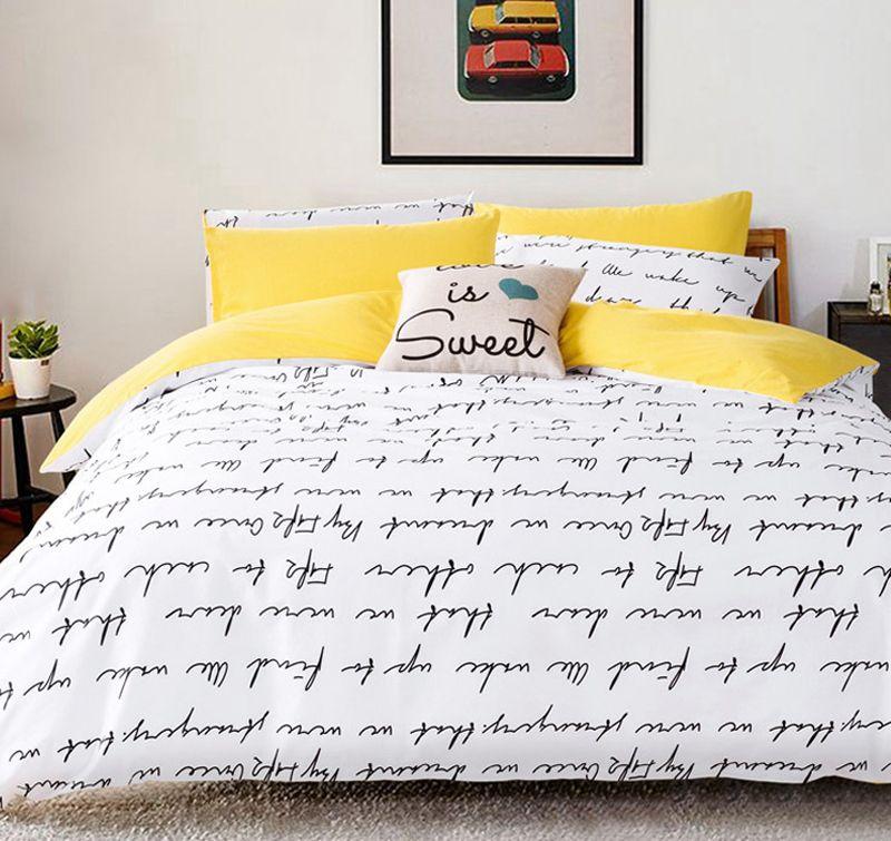 Lettre impression ensembles de literie housse de couette ensemble linge de lit RU USA taille, housse de couette drap de lit ensemble literie housse de couette blanc noir