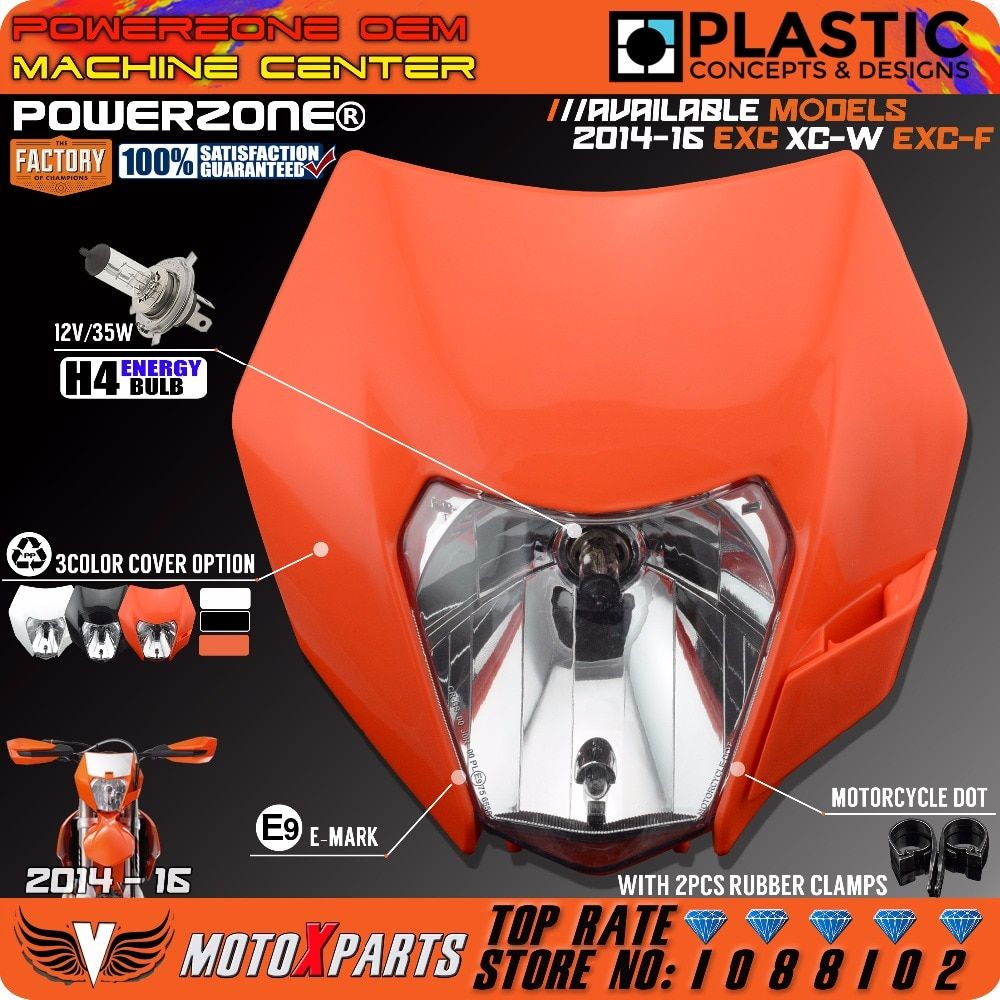 PowerZone Headlight Motorcycle Dirt Bike Motocross Supermoto Universal Orange For KTM SX EXC XCF SXF SMR 2015 16 Headlamp