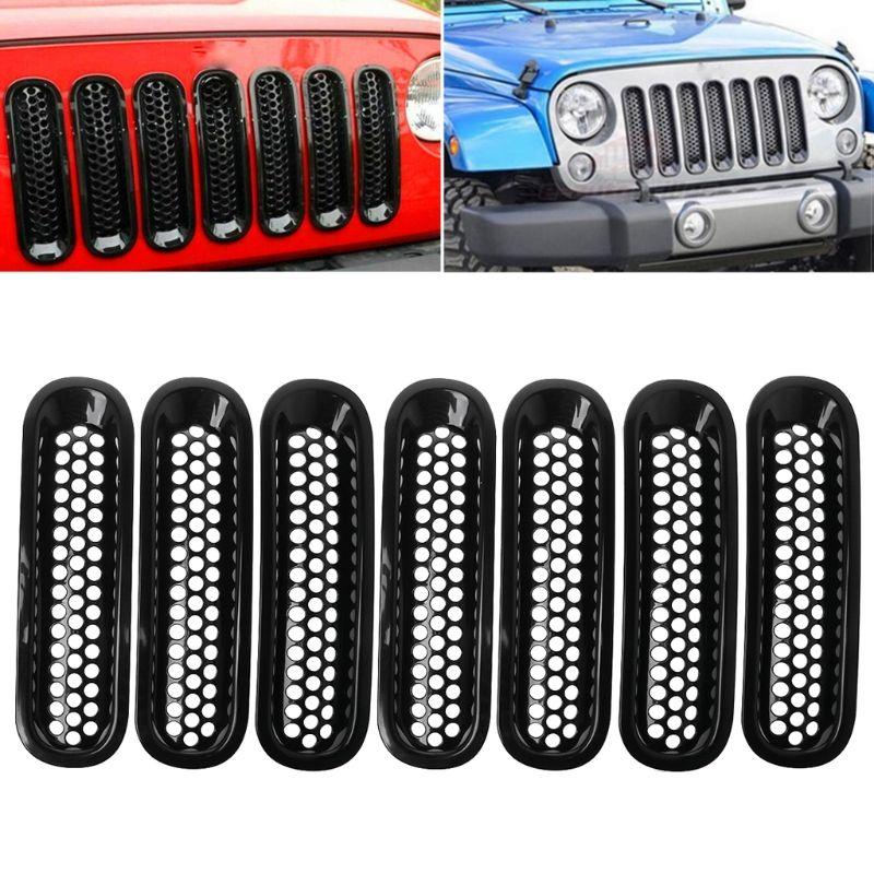 For 2007-2017 Jeep Wrangler JK Matte Black Front Insert Mesh Grille Trim Cover 7Pcs
