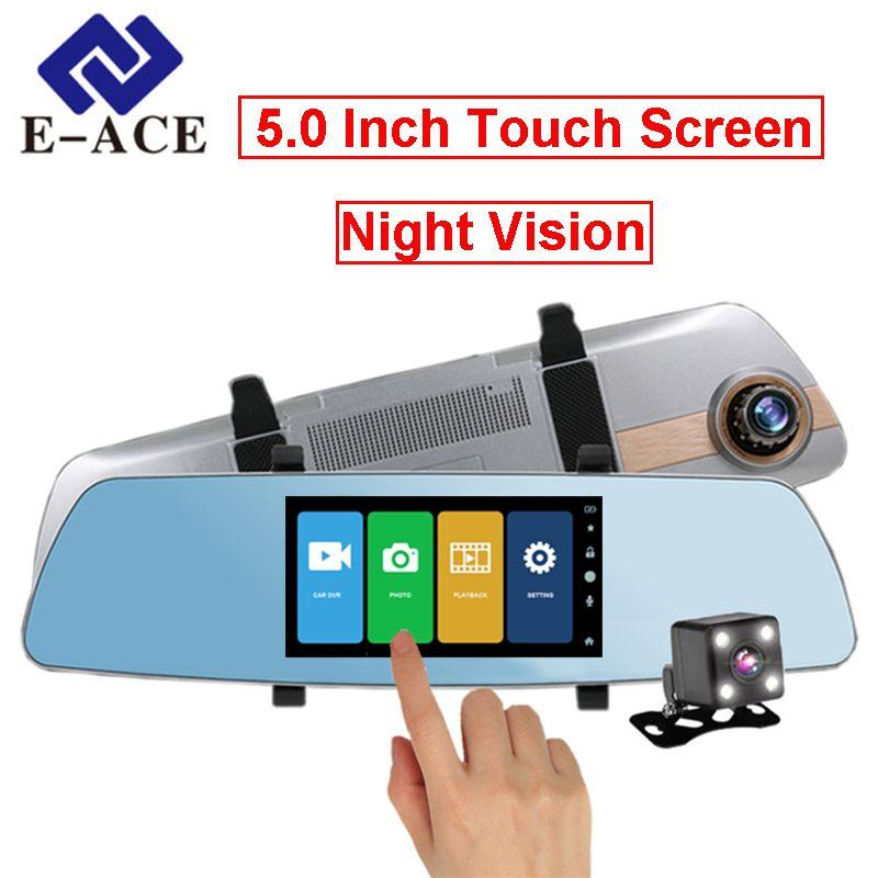 E-ACE 5 Inch Touch Screen Car Dvr Full HD 1080P Video Recorder Auto Registrar Mirror Rear View Camera Night Vision Dash Cam Dvrs