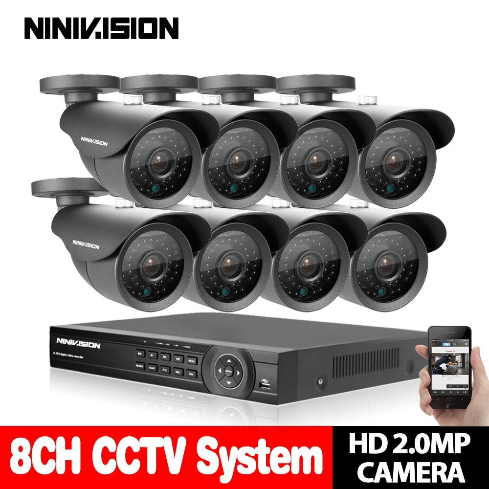 AHD 8CH CCTV 1080P HDMI DVR 2.0MP 3000TVL Outdoor Weatherproof CCTV Camera set Home Security System Surveillance Kit 2TB HDD