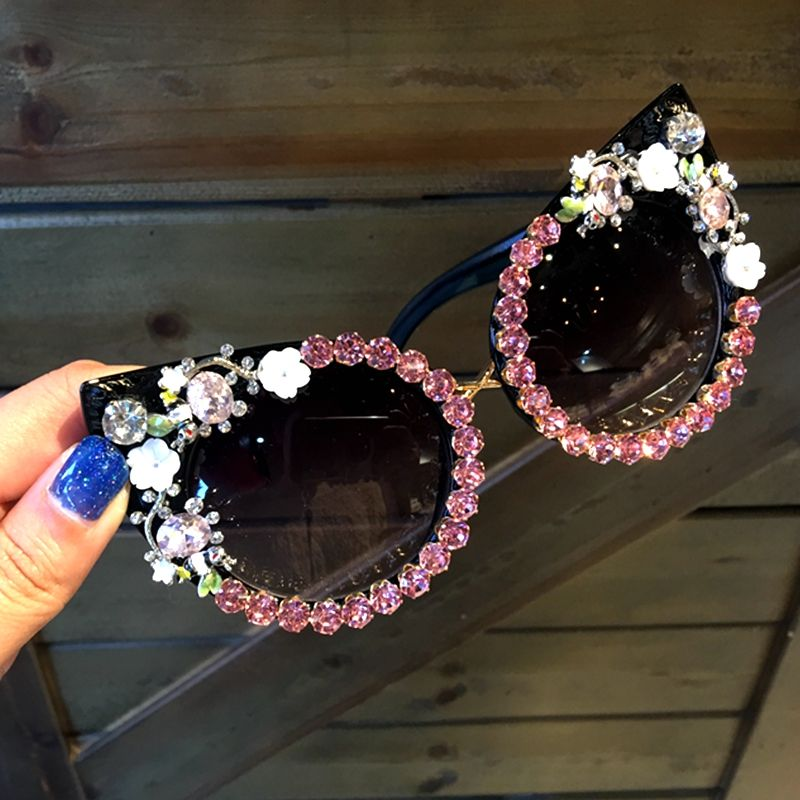 5 design Sunglasses Women Luxury Brand sunglasses <font><b>Rhinestone</b></font> Cat Eyes Sun glasses Vintage Shades for women Oculos Dropshipping