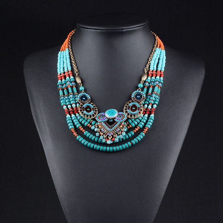 2018 New Brand Fashion Big Beads Collar Choker Necklace Pendants Boho Multilayer Maxi Statement Necklace Women Jewelry