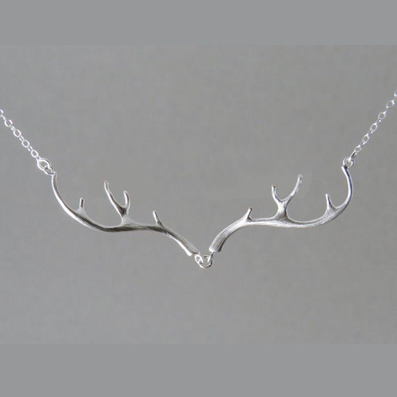 Cuerno de ciervo clavícula collar astas simple elegante joyería plateada plata Antler Collares mujeres