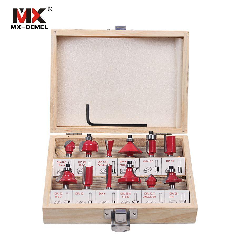 MX-DEMEL 12 pièces fraise 8mm routeur Bit ensemble coupe bois tige droite carbure outils de coupe fraise Dill Bits