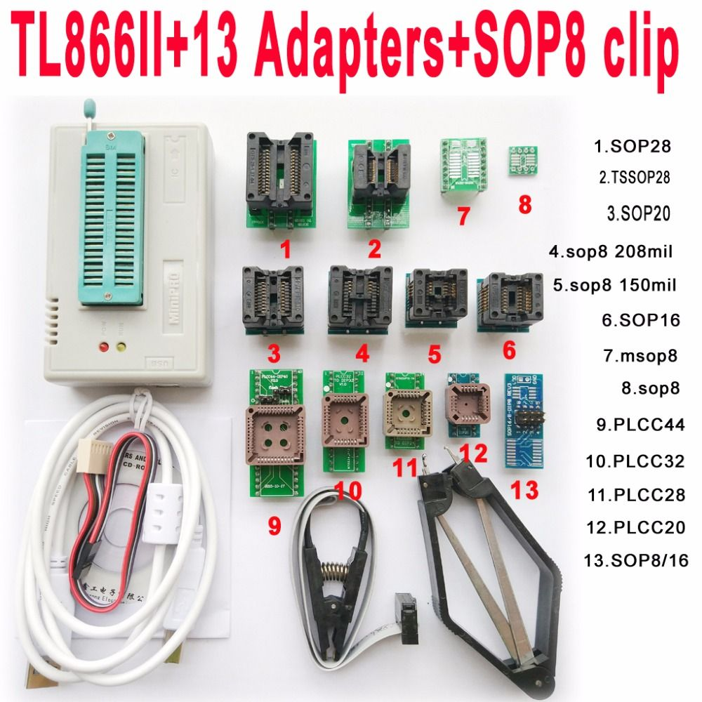 V7.08 XGecu TL866II Plus usb programmeur + 13 adaptateur socket + SOP8 clip 1.8 V nand flash 24 93 25 mcu Bios EPROM AVR eprom TL866A/CS