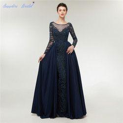 Saphir Braut Arabisch Robe De Soiree Navy Blau Abendkleider Abito Da Sera Stunny Perlen Formale Kleid 100% Echt Bild